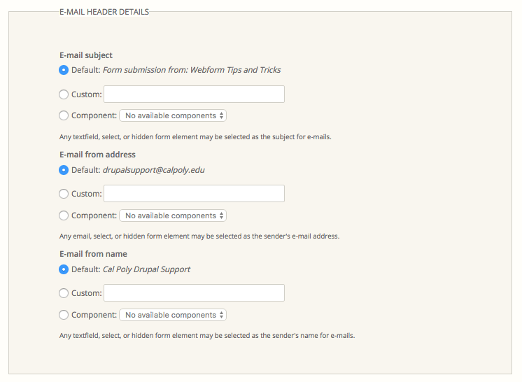 Webforms Guide Index - Drupal at Cal Poly - Cal Poly, San
