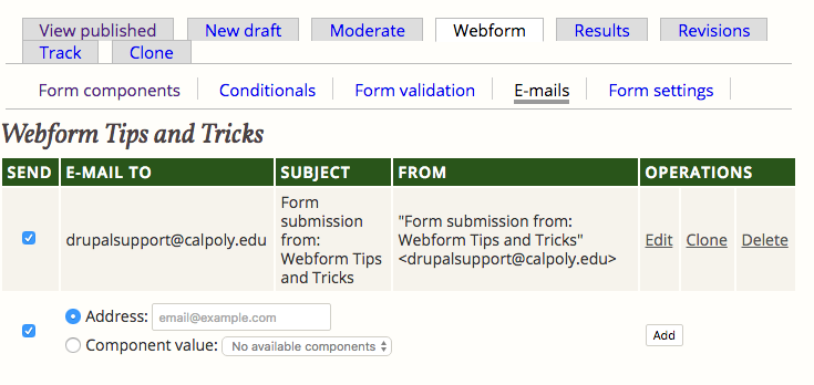 Adding a New Email to Webforms
