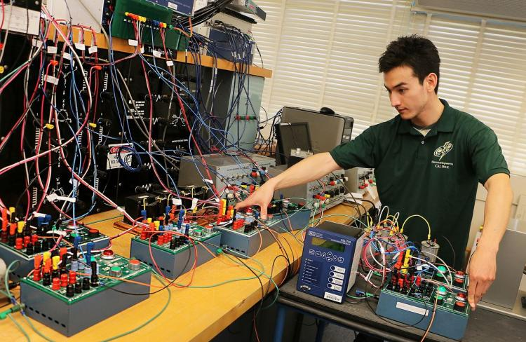 Student working on microgrid project