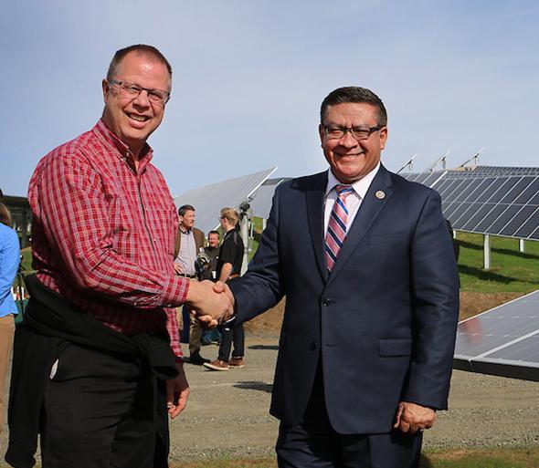 Dennis Derickson with Senator Carbajal at Gold Tree Solar Farm
