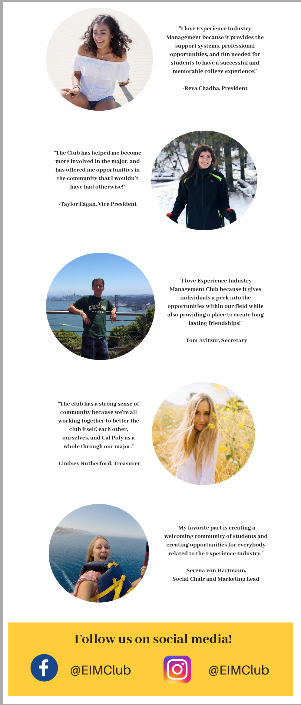 EIM Club Student Leaders photos and welcome comments