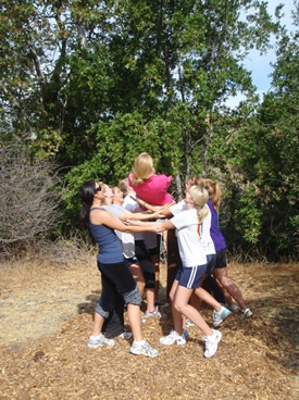 RPTA students engaged in a teambuilding exercise