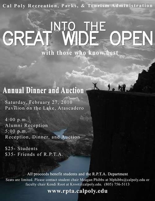 Flyer for auction and dinner