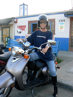 Picture of Dr. Shank on her motor bike