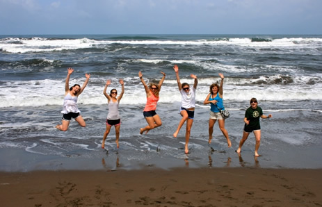 Students in Costa Rica jump for joy