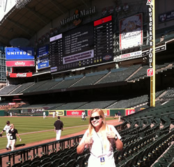 Lozovoy poses at MinuteMaid Park
