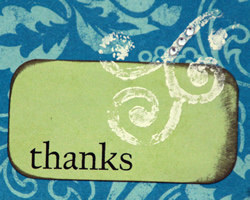 "Card that says ""Thanks"""