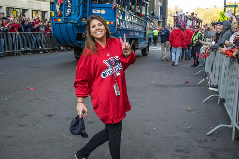 Jess poses during the World Series parade
