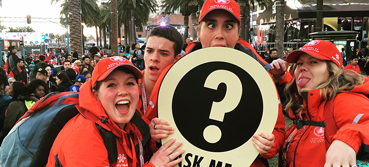 Cal Poly RPTA Students take a moment pause from their navigational 'greeter' duties at Super Bowl 50 last weekend!