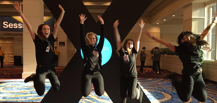 A fun shot of the GPJ-Cal Poly interns and alumni in Las Vegas working the Cisco GSX.