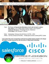 Cisco Systems, Salesforce, and George P. Johnson Industry Executives on campus Feb 28