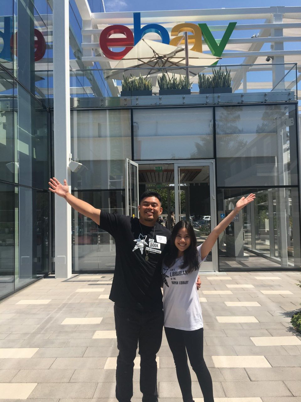 Jeanne Bay with Sean Parado outside eBay offices