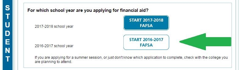 select current year Fafsa application