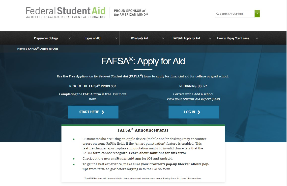 Image of financial aid website login page