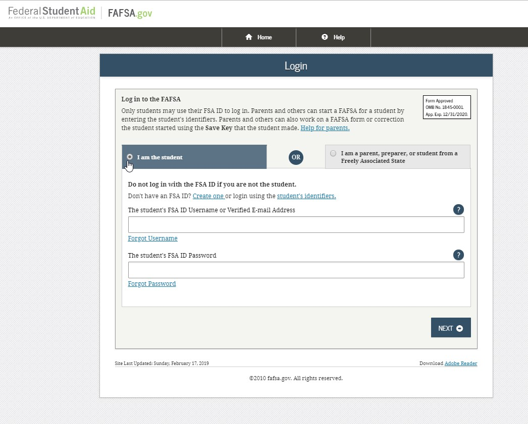 "Image of ""I am student"" link on financial aid website"