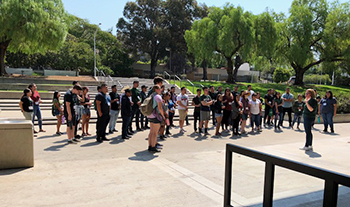 Students on a tour of Cal Poly