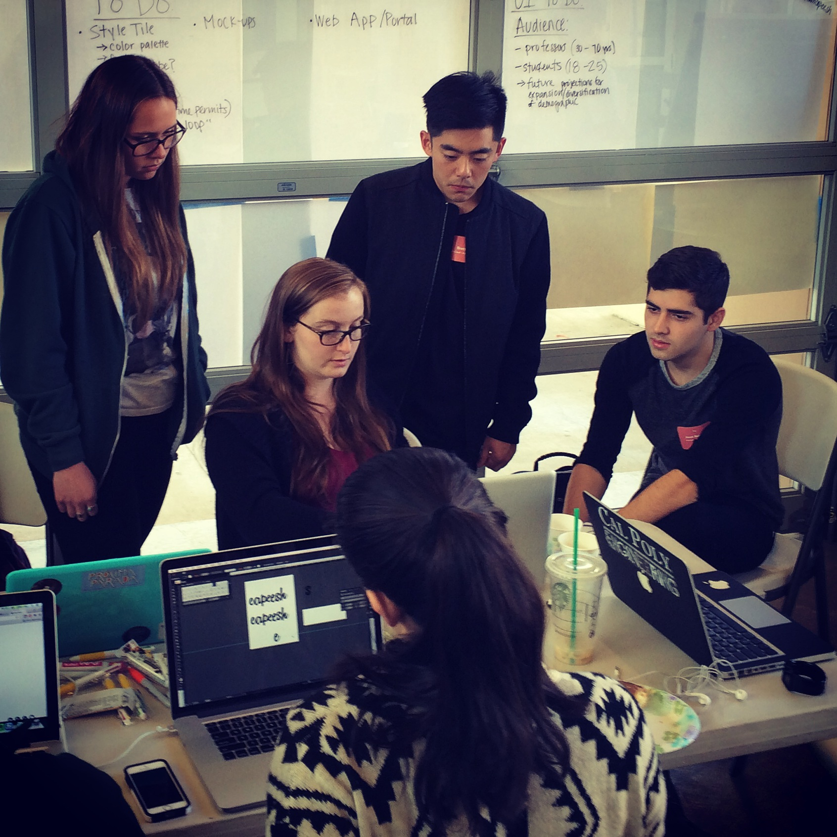 Students working at hackathon
