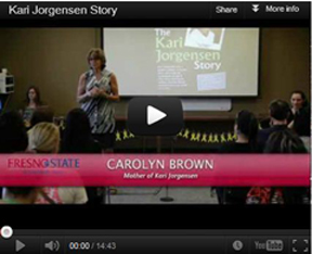 A CSU Message A mother of a former Fresno State University student recently gave a talk at the university to a group of students, sharing the story of her daughter's suicide and information that she has learned since that time. It is a moving story-- please watch to its completion.