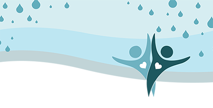 Graphic of two stylized human forms with their hearts emphasized giving a high-five in the rain