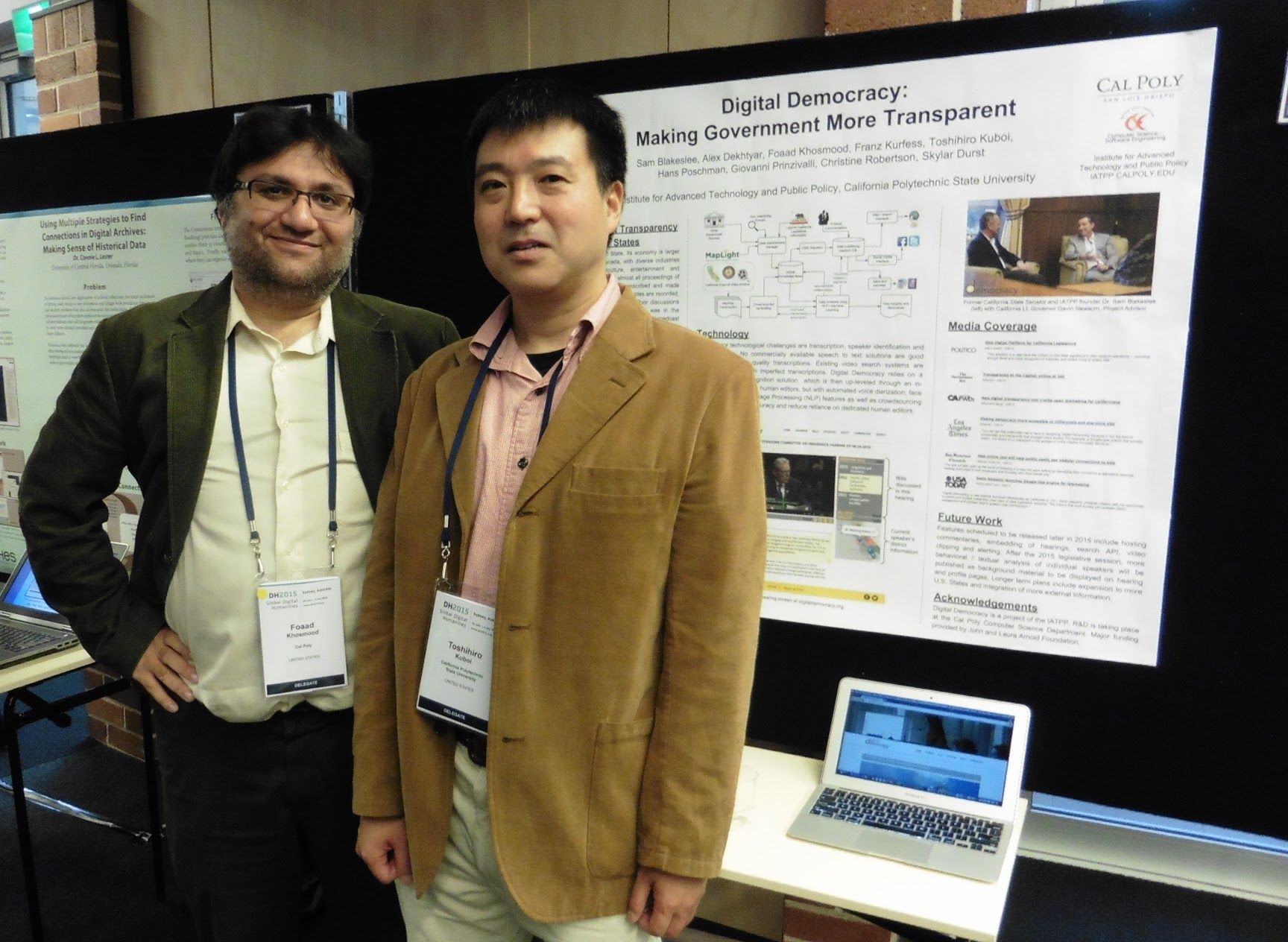 Foaad Khosmood and Toshihiro Kuboi at Digital Humanities 2015