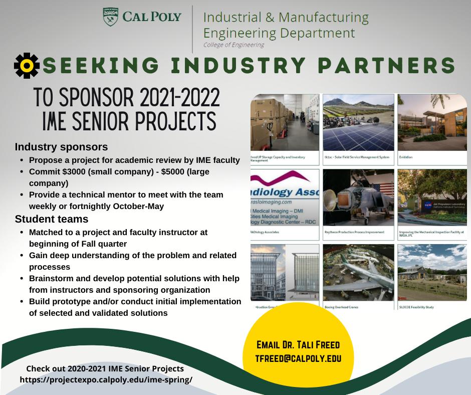 Poster advertising IME senior project sponsorship opportunities