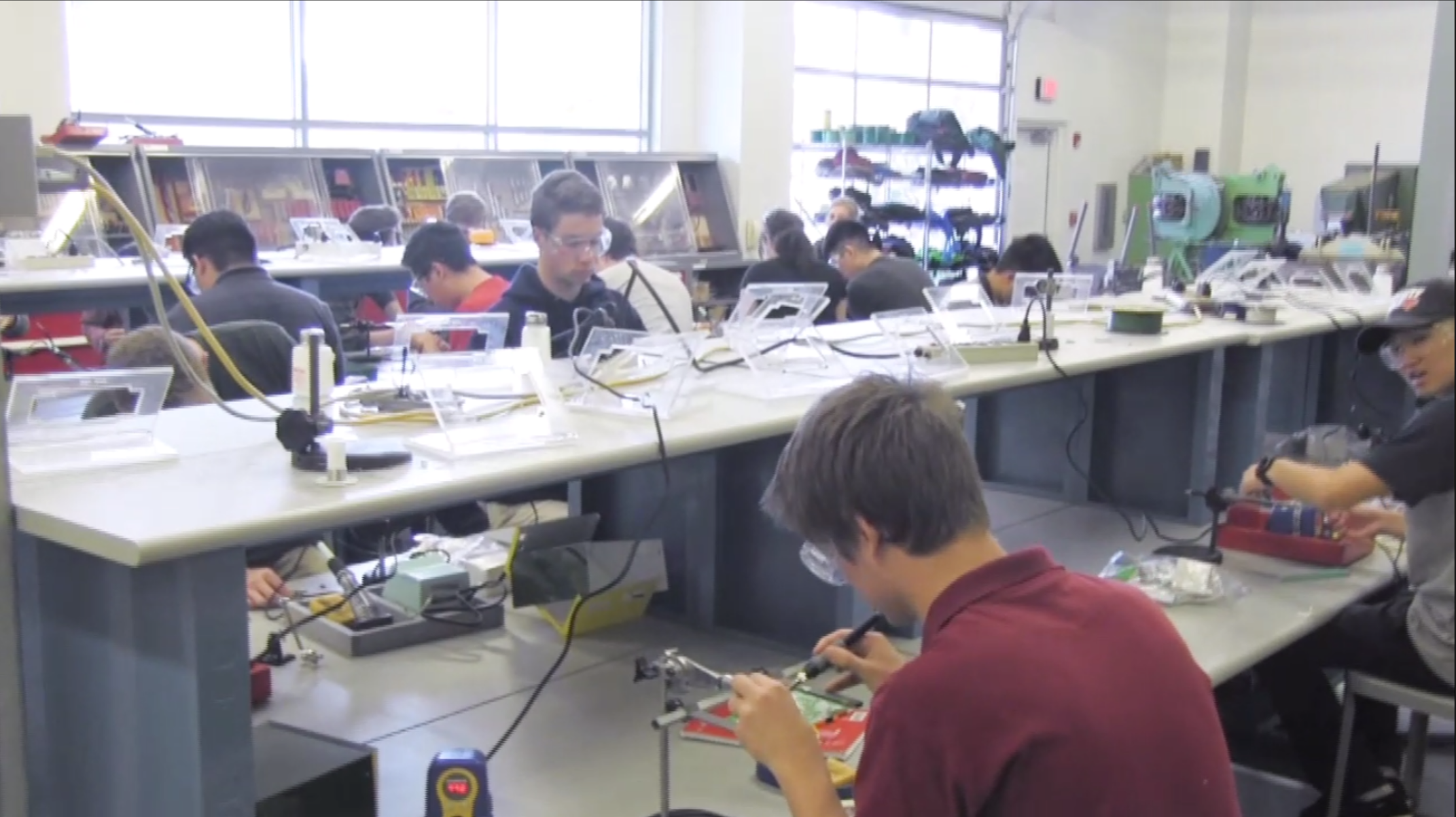 Students in the Electronic Design and Manufacturing Labs