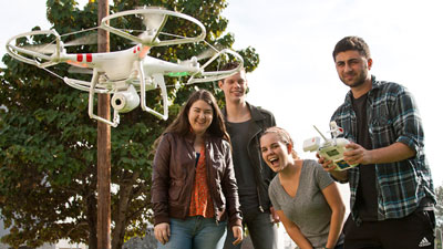 Students using drone