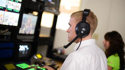 Student at video monitor