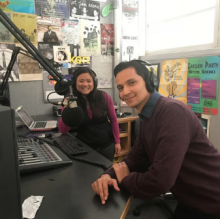 "Cal Poly journalism senior Megan Schellong hosts Armando Torres Garcia on the podcast,  ""Around the Block,"" in KCPR's studio B"
