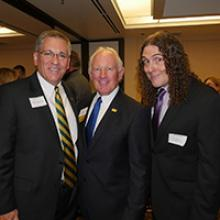 "2016 Mustang Media Hall of Fame Recipients  ""Weird Al"" Yankovic (right) and  Bruce McPherson (center) with Cal Poly president Jeffrey Armstrong (left). Photo by Alan Halfhill."