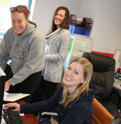Students working in the Kinesiology office