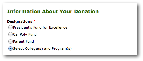 Photo of Donations menu, choose 'Select College and Program'