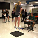 Students participating in a Kinesiology lab