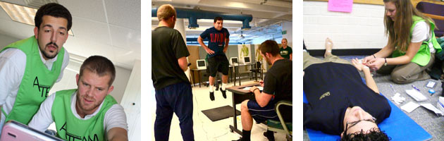 Three photos of students in various Kinesiology labs