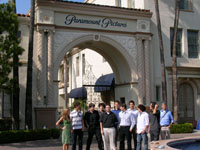 LAES students outside the Paramount Studios main gate.