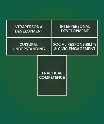 T diagram. Practical competence supporting Intrapersonal development, interpersonal development, cultural understanding, and social responsibility & civic engagement