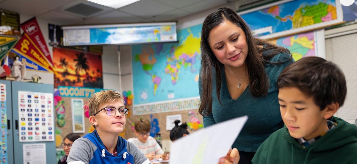 student teacher in classroom setting
