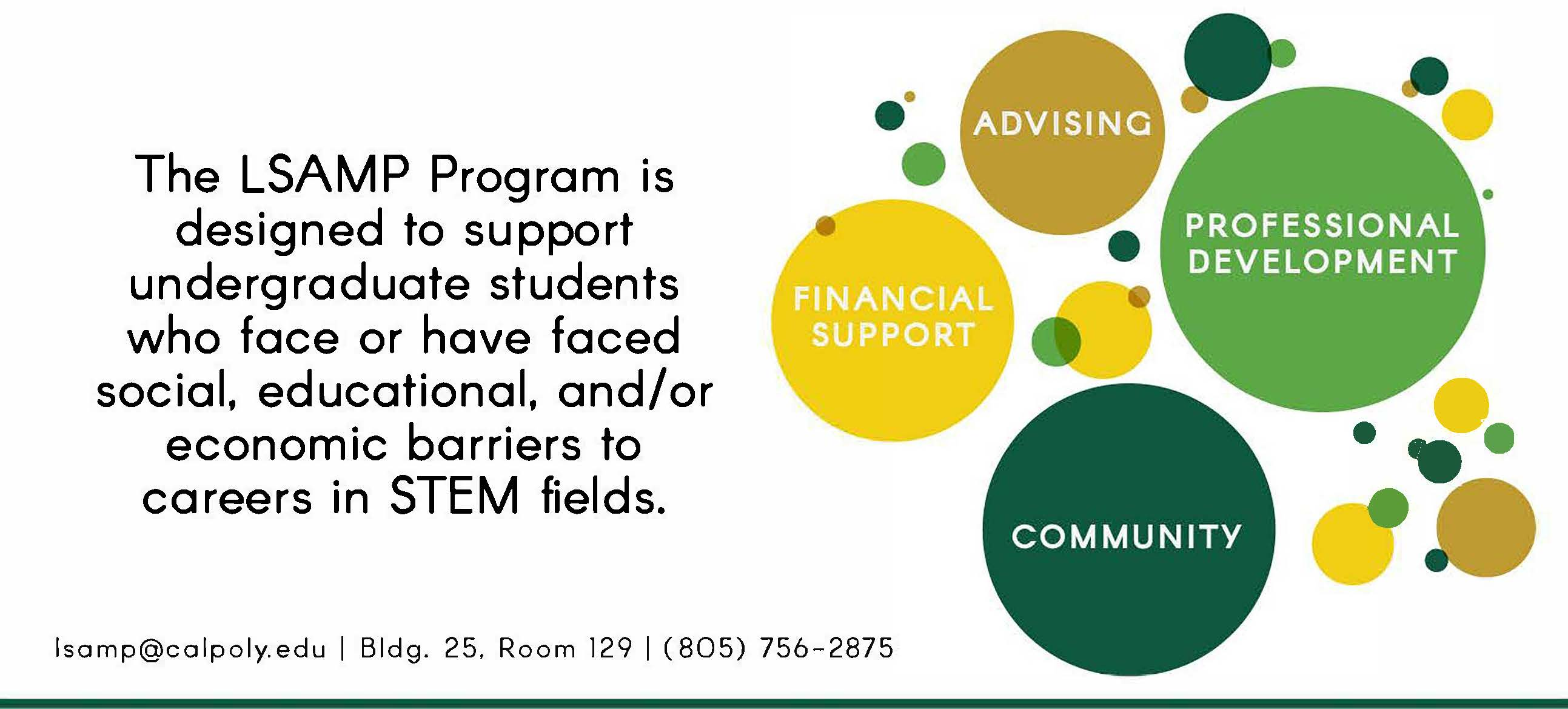 The LSAMP Program is designed to support undergraduate students who face or have faced social, educational, and/or economic barriers to careers in STEM fields