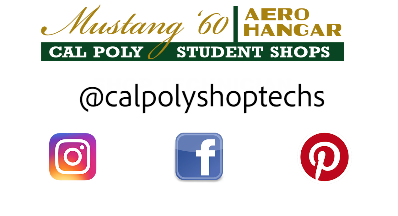 Shops logo with @calpolyshoptechs social media handle and icons