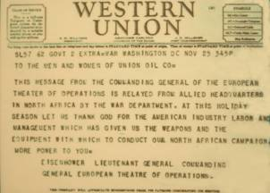 A telegram from Dwight D. Eisenhower