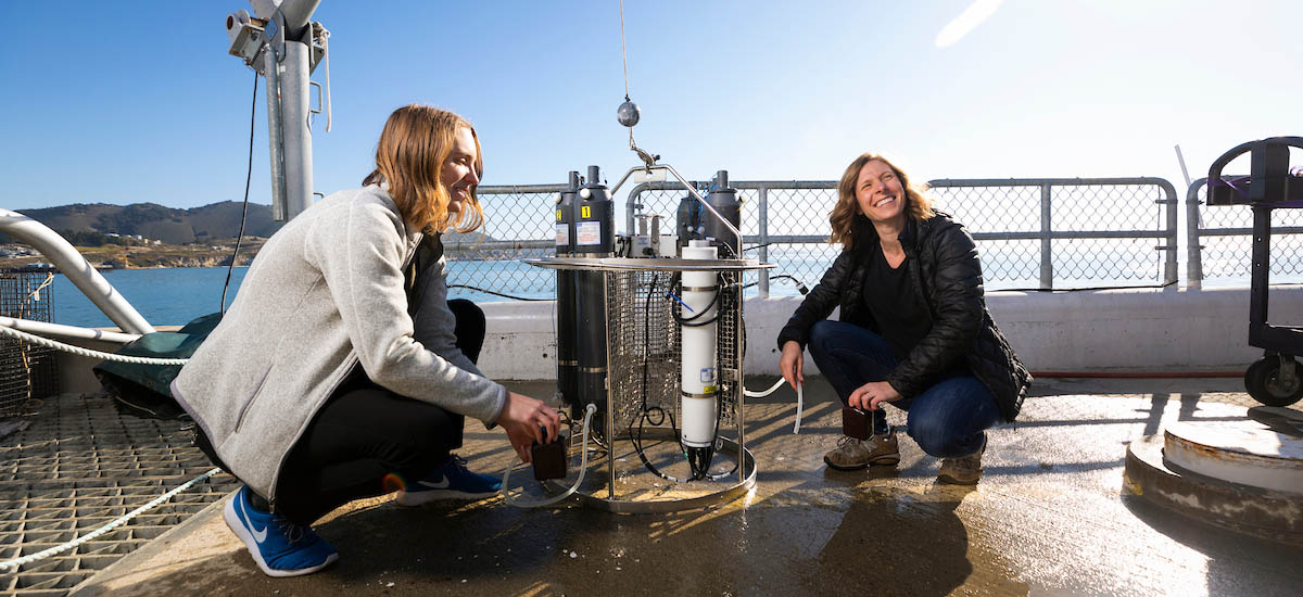 Research header. Stock image. Sea water research.