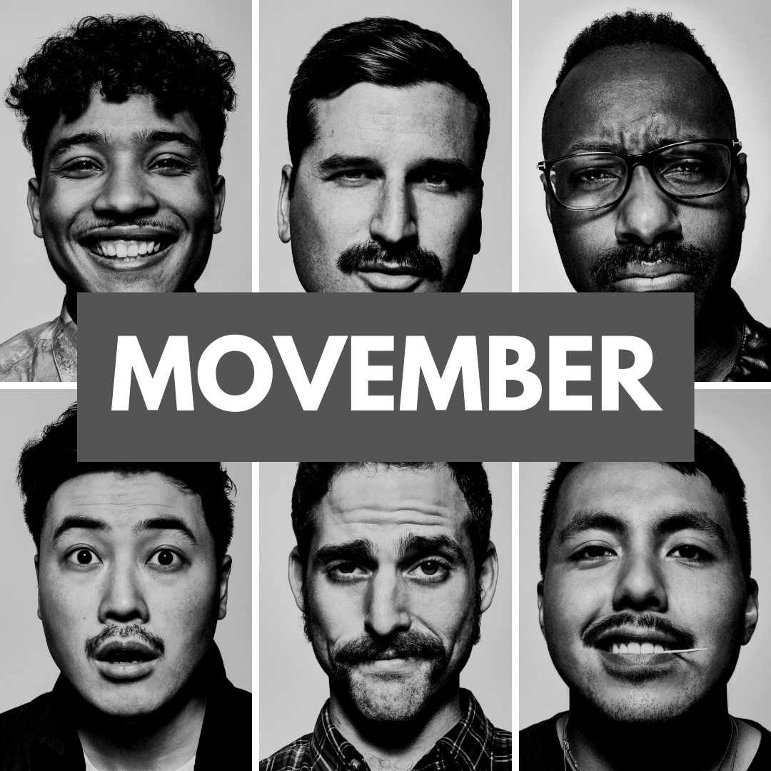 """Black and white portrait photos of 6 men. They are cropped next to each other in 2 rows, 3 individuals in each row. A banner in the center of the photo reads """"Movember"""""""