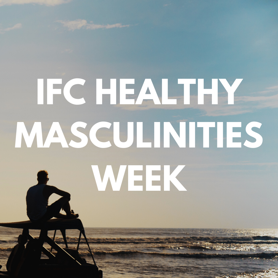 """Photo of a silhouette at the beach, the words """"Inter Fraternity Council's Healthy Masculinities Week are centered in front."""