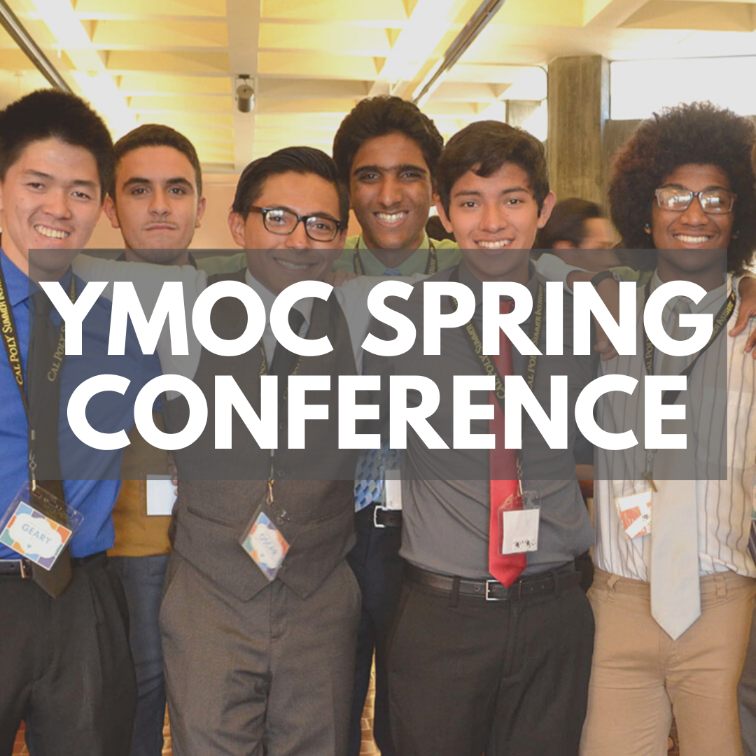 """Photo of a group of young men of color smiling at the camera. A grey banner says """"Young Men of Color Spring Conference"""""""