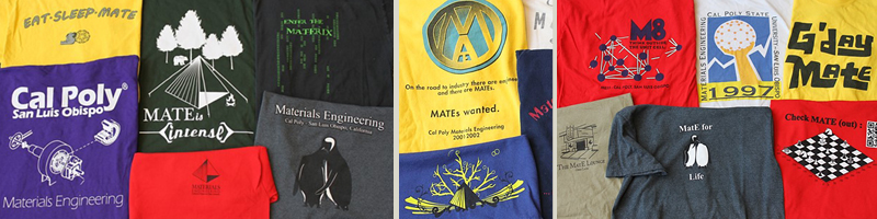 pictures of t-shirts designed by MATE students over the decades