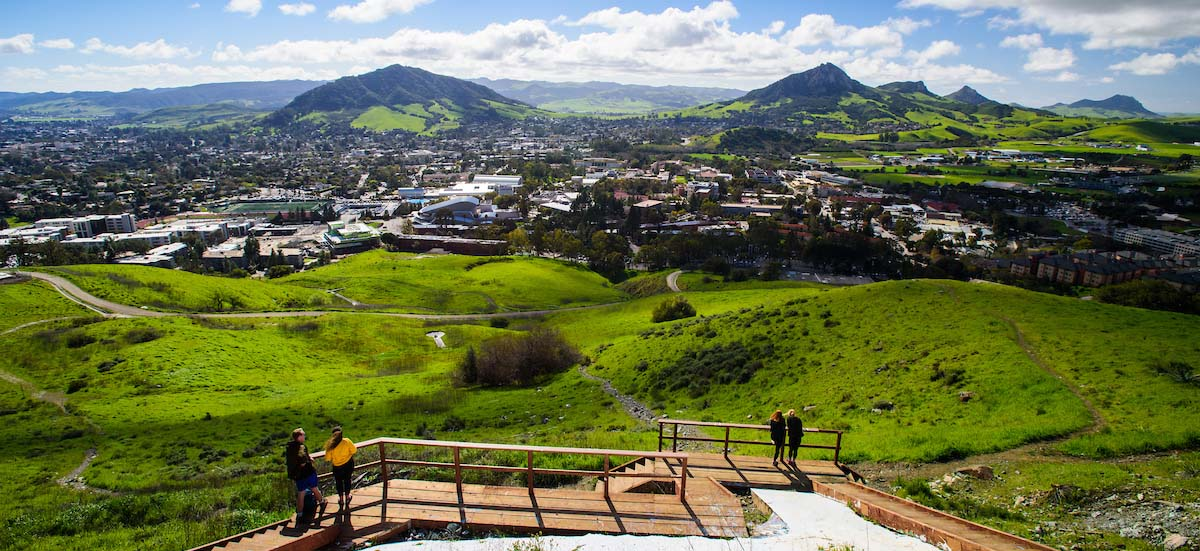 Stock image. Student observe view of Cal Poly campus.