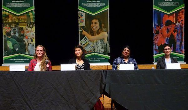 STEM panel of Joyce Lin, Lauren Rueda, Kimberly Walter, and Bushra Anjum