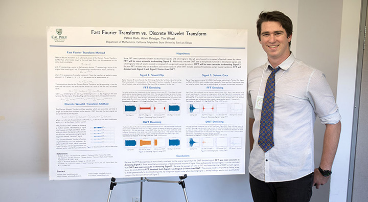 """Student Tim Wetzel stands next to his research poster titled """"Fast Fourier Transform vs.Discrete Wavelet Transform"""