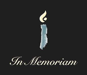 """In Memoriam"" with an illustration of a candle"