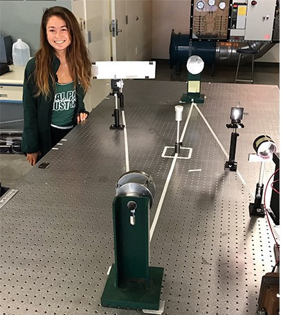 "Makenzie Kamei with her ""Z"" Schlieren system, which employs dual 4 inch mirrors and the Xenon light source."